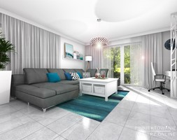 Projektowanie salonu z TV i miejscem na komputer - Średni szary salon - zdjęcie od Projektowanie Wnetrz Online