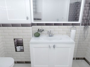Dom w Nasielsku - Mała biała czarna łazienka w bloku w domu jednorodzinnym bez okna, styl klasyczny - zdjęcie od iO Project