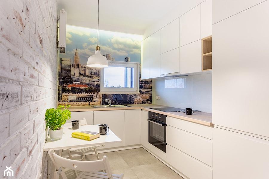 MIESZKANIE 52m2 - Średnia zamknięta kuchnia w kształcie litery l w aneksie z oknem, styl eklektyczny - zdjęcie od KRAMKOWSKA | PRACOWNIA WNĘTRZ