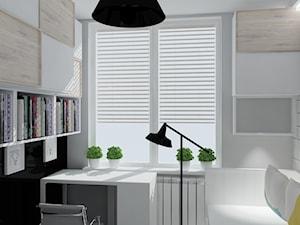 pokój Pauliny - Mały biały szary czarny pokój dziecka dla ucznia dla nastolatka, styl industrialny - zdjęcie od KRAMKOWSKA | PRACOWNIA WNĘTRZ