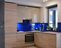 Mieszkanie w Browarze Gdańskim - Mała otwarta niebieska kuchnia w kształcie litery l w aneksie, styl nowoczesny - zdjęcie od Helena Michel Design