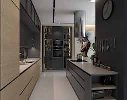 kuchnia - Duża otwarta czarna kuchnia w kształcie litery l z wyspą, styl industrialny - zdjęcie od panasiukDESIGN