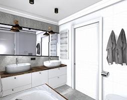łazienka - Mała biała szara łazienka w bloku w domu jednorodzinnym bez okna, styl nowoczesny - zdjęcie od SPATIUM Hanna Blicharska - Homebook
