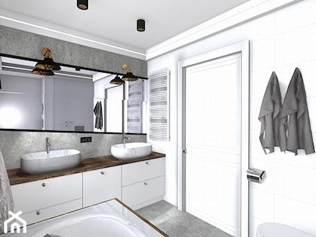 Aranżacje wnętrz - Łazienka: łazienka - Mała biała szara łazienka w bloku w domu jednorodzinnym bez okna, styl nowoczesny - SPATIUM Hanna Blicharska. Przeglądaj, dodawaj i zapisuj najlepsze zdjęcia, pomysły i inspiracje designerskie. W bazie mamy już prawie milion fotografii!