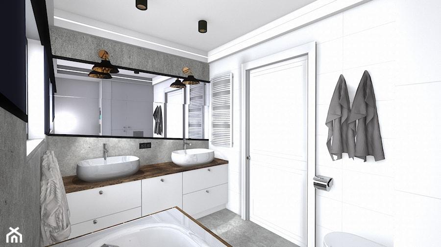 łazienka - Mała biała szara łazienka w bloku w domu jednorodzinnym bez okna, styl nowoczesny - zdjęcie od SPATIUM Hanna Blicharska