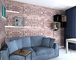 kawalerka - Mały brązowy salon z jadalnią, styl skandynawski - zdjęcie od SPATIUM Hanna Blicharska - Homebook