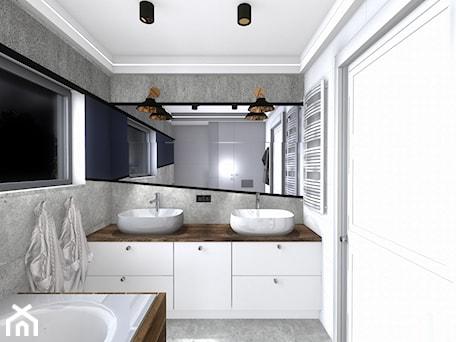 Aranżacje wnętrz - Łazienka: łazienka - Mała biała szara łazienka w bloku w domu jednorodzinnym z oknem, styl nowoczesny - SPATIUM Hanna Blicharska. Przeglądaj, dodawaj i zapisuj najlepsze zdjęcia, pomysły i inspiracje designerskie. W bazie mamy już prawie milion fotografii!
