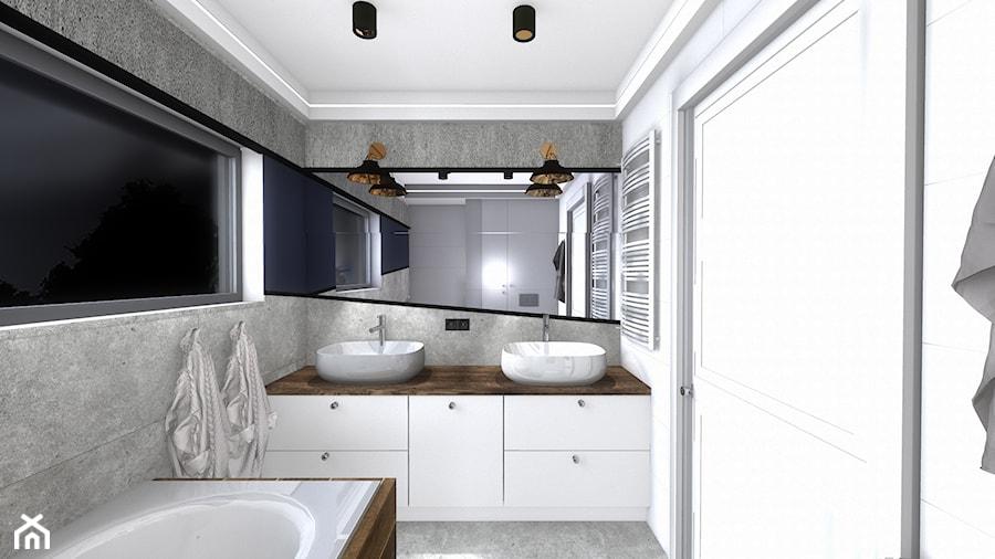 łazienka - Mała biała szara łazienka w bloku w domu jednorodzinnym z oknem, styl nowoczesny - zdjęcie od SPATIUM Hanna Blicharska