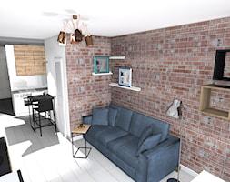 kawalerka - Mały biały salon z kuchnią z jadalnią, styl skandynawski - zdjęcie od SPATIUM Hanna Blicharska - Homebook
