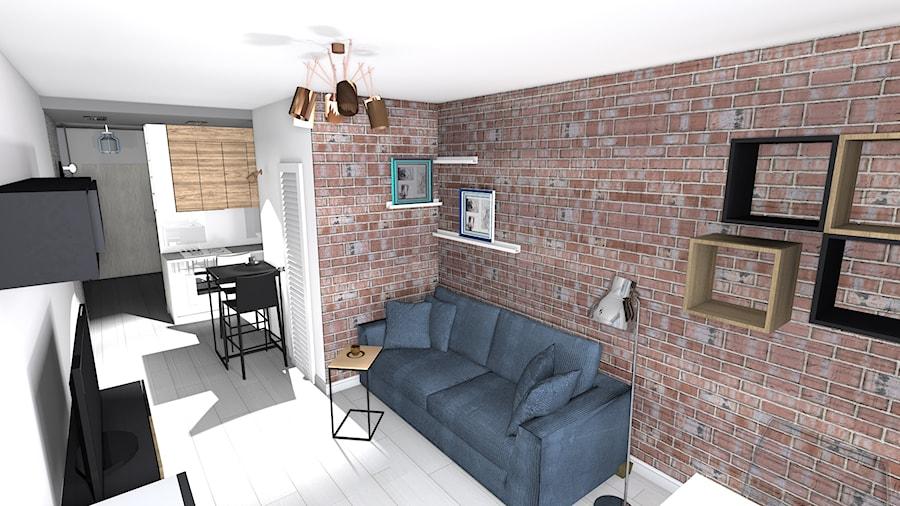 kawalerka - Mały biały salon z kuchnią z jadalnią, styl skandynawski - zdjęcie od SPATIUM Hanna Blicharska