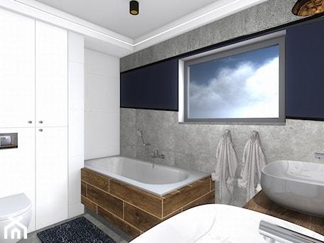 Aranżacje wnętrz - Łazienka: łazienka - Średnia biała niebieska łazienka w bloku w domu jednorodzinnym z oknem, styl nowoczesny - SPATIUM Hanna Blicharska. Przeglądaj, dodawaj i zapisuj najlepsze zdjęcia, pomysły i inspiracje designerskie. W bazie mamy już prawie milion fotografii!