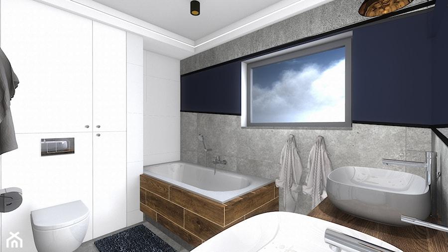 łazienka - Średnia biała niebieska łazienka w bloku w domu jednorodzinnym z oknem, styl nowoczesny - zdjęcie od SPATIUM Hanna Blicharska