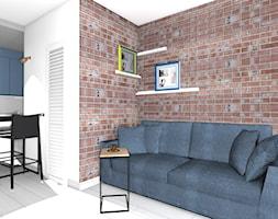 kawalerka - Mały biały salon z kuchnią z jadalnią, styl nowoczesny - zdjęcie od SPATIUM Hanna Blicharska - Homebook