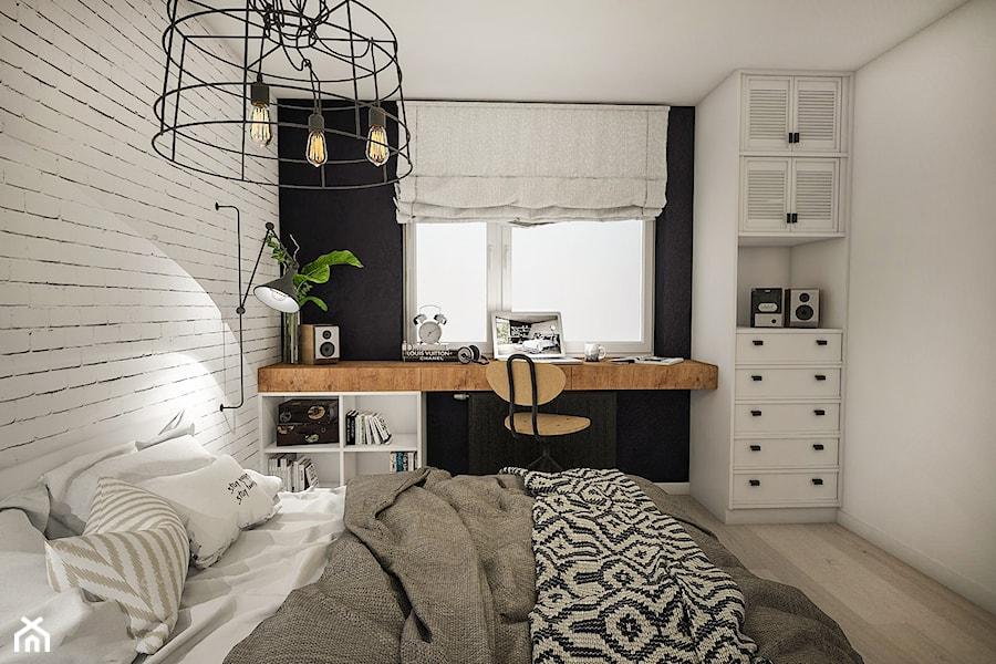 Projekt Mieszkania W Stylu Loftowym średnia Biała Czarna