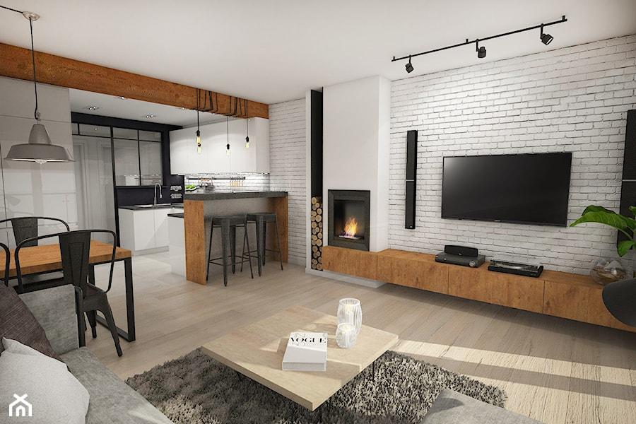 Projekt Mieszkania W Stylu Loftowym średni Biały Salon Z