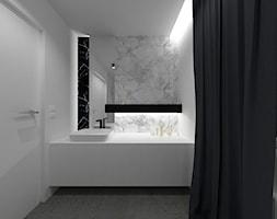 Minimalistyczna łazienka *D.O - Mała biała łazienka na poddaszu w bloku w domu jednorodzinnym z oknem, styl minimalistyczny - zdjęcie od MK Architektura Wnętrz