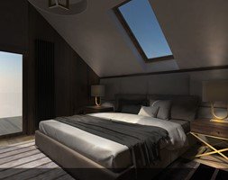 WNĘTRZE DOMU W BOLECHOWICACH - Średnia sypialnia małżeńska na poddaszu z balkonem / tarasem, styl nowoczesny - zdjęcie od EKLEKT ATELIER