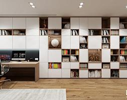 SALON NA PODDASZU - SALON I PRACOWNIA - Duże szare białe biuro pracownia w pokoju, styl nowoczesny - zdjęcie od EKLEKT ATELIER