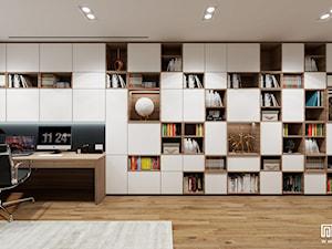 ADAPTACJA PODDASZA /50 - Duże szare białe biuro pracownia w pokoju, styl nowoczesny - zdjęcie od EKLEKT DESIGN