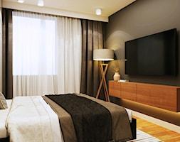 Projekt Apartamentu - Widok na Wisłę - Mała biała czarna sypialnia małżeńska, styl nowoczesny - zdjęcie od EKLEKT ATELIER