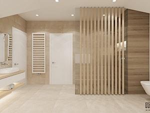 PROJEKT ŁAZIENKI - Duża biała łazienka na poddaszu w domu jednorodzinnym bez okna, styl nowoczesny - zdjęcie od EKLEKT ATELIER