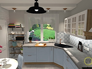 Kuchnia klasyczna z błękitem - Średnia zamknięta szara kuchnia w kształcie litery l z oknem, styl tradycyjny - zdjęcie od DW Wnętrza