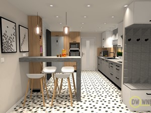 Kuchnia w domu z lat 60' - Średnia beżowa kuchnia w kształcie litery l w aneksie, styl nowoczesny - zdjęcie od DW Wnętrza