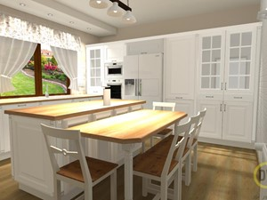 Kuchnia w stylu prowansalskim z wyspą - Duża zamknięta szara kuchnia w kształcie litery l z wyspą z oknem, styl prowansalski - zdjęcie od DW Wnętrza