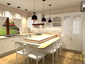 Kuchnia w stylu angielskim - Średnia zamknięta szara kuchnia w kształcie litery u z oknem, styl prowansalski - zdjęcie od DW Wnętrza