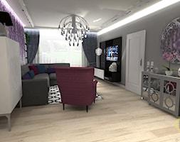 salon glamour - Średni szary fioletowy salon, styl glamour - zdjęcie od DW Wnętrza