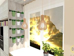 Kuchnia ziołowo-wegańska - Mała otwarta pomarańczowa kuchnia jednorzędowa z oknem, styl skandynawski - zdjęcie od DW Wnętrza