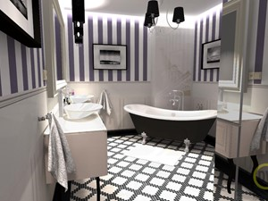 Elegancja-Francja - Średnia szara łazienka w bloku w domu jednorodzinnym bez okna, styl klasyczny - zdjęcie od DW Wnętrza