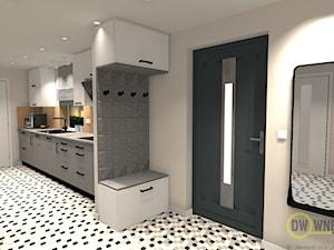 Korytarz połączony z kuchnią - Średni szary hol / przedpokój, styl nowoczesny - zdjęcie od DW Wnętrza