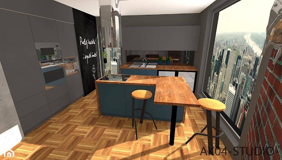 Poznań - Duża zamknięta czarna kuchnia w kształcie litery l z wyspą z oknem, styl industrialny - zdjęcie od AK04-STUDIO- Aleksandra Kwiecień