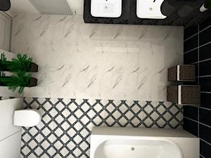 Projekt łazienka - Średnia biała łazienka w bloku w domu jednorodzinnym bez okna, styl tradycyjny - zdjęcie od AK04-STUDIO- Aleksandra Kwiecień