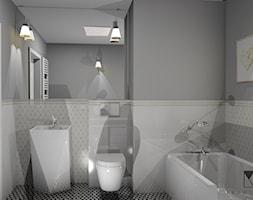 Łazienka w stylu glamour - Średnia szara łazienka w bloku w domu jednorodzinnym bez okna, styl glamour - zdjęcie od Krawczyszyn-design