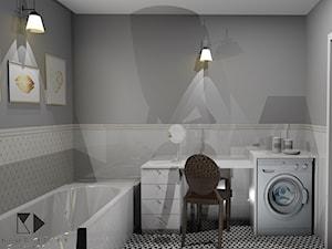 Łazienka w stylu glamour - Mała biała szara łazienka na poddaszu w bloku w domu jednorodzinnym bez okna, styl glamour - zdjęcie od Krawczyszyn-design