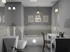 Łazienka w stylu glamour - Mała szara łazienka na poddaszu w bloku w domu jednorodzinnym bez okna, styl glamour - zdjęcie od Krawczyszyn-design