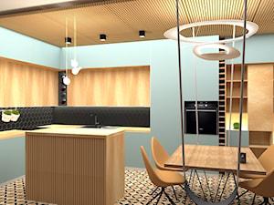 Nowoczesny salon z kuchnią z nutą Art deco - Duża otwarta kuchnia w kształcie litery l z wyspą z oknem, styl art deco - zdjęcie od You. Projekty wnętrz