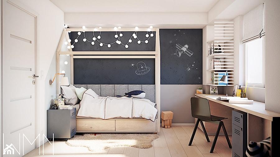 #5 - Średni szary czarny pokój dziecka dla chłopca dla dziewczynki dla ucznia dla nastolatka, styl skandynawski - zdjęcie od wmn Architekci
