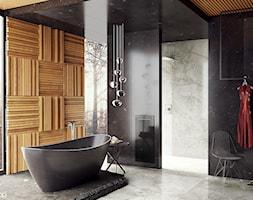 #4 - Średnia czarna łazienka w bloku w domu jednorodzinnym z oknem, styl nowoczesny - zdjęcie od wmn Architekci - Homebook