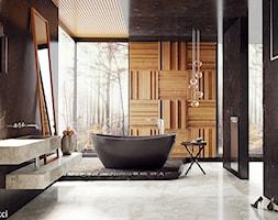 #4 - Duża czarna łazienka w bloku w domu jednorodzinnym z oknem, styl nowoczesny - zdjęcie od wmn Architekci - Homebook