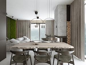 Projekt wnętrz / Białka Tatrzańska - Średnia otwarta czarna jadalnia w salonie, styl nowoczesny - zdjęcie od MVWV studio