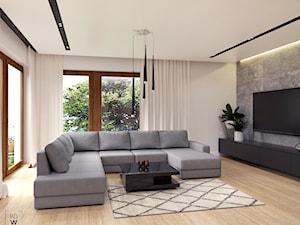 DOM W FIRLEJU - Średni szary salon, styl nowoczesny - zdjęcie od BDWstudio
