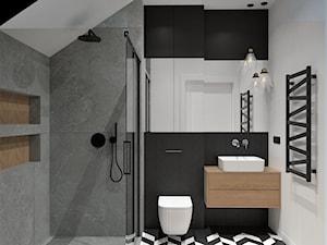 DOM POD WROCŁAWIEM - Średnia biała czarna szara łazienka na poddaszu, styl nowoczesny - zdjęcie od BDWstudio