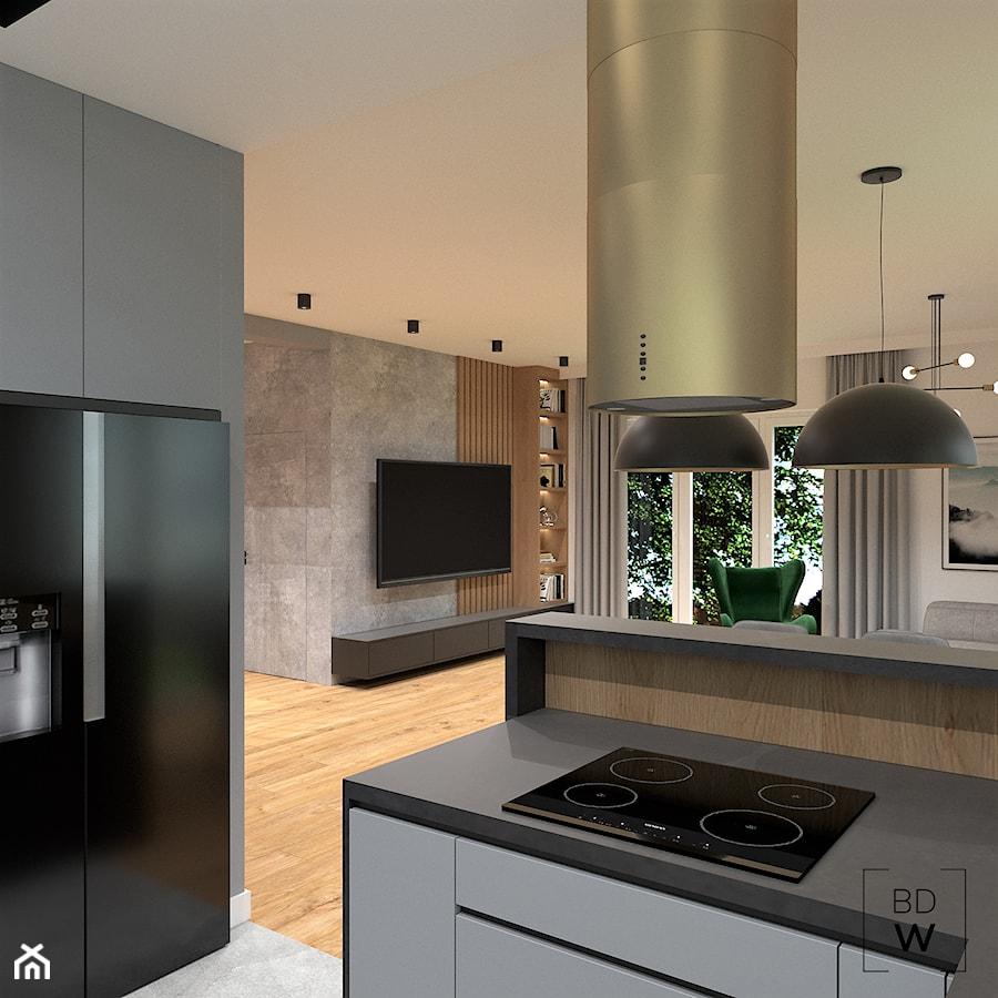 DOM POD WROCŁAWIEM - Średnia otwarta szara kuchnia w kształcie litery g w aneksie, styl nowoczesny - zdjęcie od BDWstudio