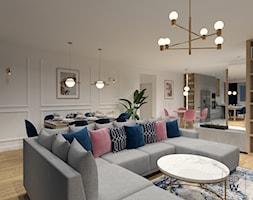 MAZOWIECKA, LUBLIN - Średni biały salon z kuchnią z jadalnią, styl eklektyczny - zdjęcie od BDWstudio