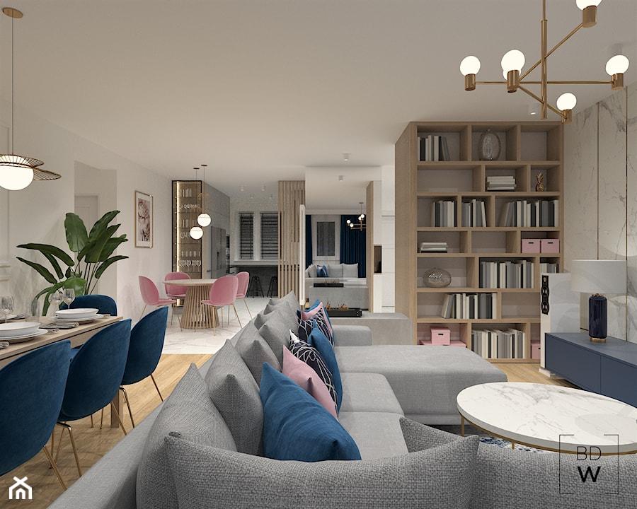 MAZOWIECKA, LUBLIN - Średni biały beżowy salon z bibiloteczką z jadalnią, styl eklektyczny - zdjęcie od BDWstudio