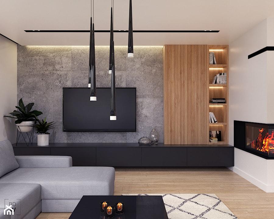 DOM W FIRLEJU - Średni biały salon z bibiloteczką, styl nowoczesny - zdjęcie od BDWstudio