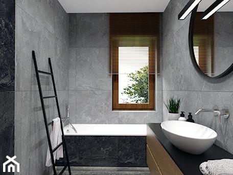 Aranżacje wnętrz - Łazienka: DOM W FIRLEJU - Mała szara łazienka w bloku w domu jednorodzinnym z oknem, styl nowoczesny - BDWstudio. Przeglądaj, dodawaj i zapisuj najlepsze zdjęcia, pomysły i inspiracje designerskie. W bazie mamy już prawie milion fotografii!